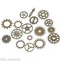 HS 17 Mix Bronze Zahnrad Vintage Charms Anhänger Uhrenteile Uhrenersatzteile