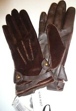 Ladies Women's Nine West Velour/Leather Gloves,S, Brown