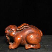 Collect noble boxwood carve Lovely rabbit statue Japanese Netsuke decor figurine