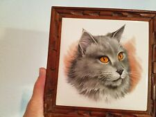 Royal Sphinx Kitty Cat Framed Tile Made in Holland Hand Decorated