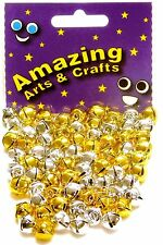 72 Jingle Bells Gold and Silver 10mm by Amazing Arts and Crafts