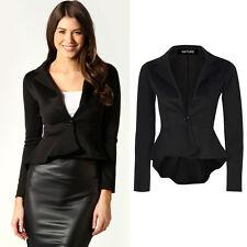 Button Cotton Patternless Blazer Coats & Jackets for Women
