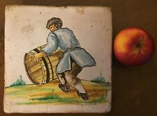 Large Antique French Delft Tin Glaze Faience Pottery Tile 18th 19th c. Wine Cask