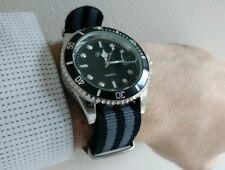 Gonewa Submariner Diver Homage Watch James Bond 007 Grey NATO Military Strap UK