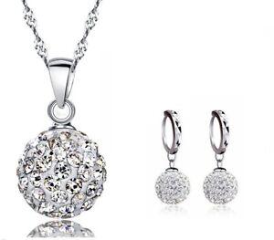 Necklace Earrings Jewelery Set Austrian Gem Crystal Shamballa Silver Disco Ball