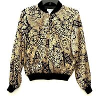 Allison Taylor Women's 100% Silk Jacket Sz M Gold/Black Asian Design Zipper