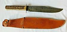 """Vintage OLSEN - BOWIE - 15.5"""" Hunting Fighting Knife - Leather Sheath - Germany"""