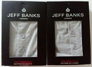 Two Pairs of Jeff Banks, Mens', Grey, Button Fly, Boxers, Size MEDIUM - New