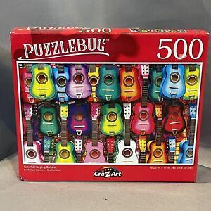 PUZZLEBUG CraZart Colorful Hanging Guitars 500 Piece Jigsaw Puzzle SEALED