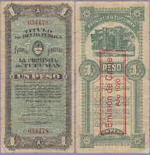 "Argentina 1 Peso Banknote 8.4.1920 Fine Condition Cat#S-2247-4478,""Unpriced"""