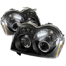 Pair Projector Head Lights Lamps Jeep Grand Cherokee 2005-2007 HALO LED Black