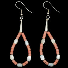 Angelskin Coral Earrings Pearl Accented Navajo French Hooks