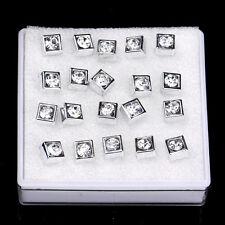 10Pairs/Lot Women Girls Rhinestone Crystal Silver Square Shape Ear Stud Earrings