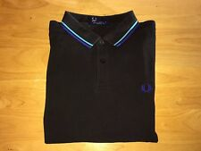 Fred Perry Mens S/S Polo Shirt Size Small Black - Blue Twin Tipped