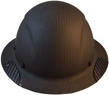 """DAX """"REAL"""" Carbon Fiber """"MATTE BLACK"""" Full Brim Hard Hat Ratchet Suspension"""