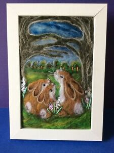 Handmade Needle Felted Picture Rabbits Animal Titled 'The Clearing'