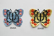 2545 Bule,Yellow Butterfly Embroidery Iron On Applique Patch