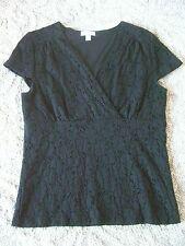 Women's CHARTER CLUB XL Black Eyelet Knit Top Short Sleeve Wrap