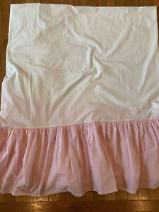 "Pottery Barn Kids PBK Light Pink Bedskirt Dust Ruffle Full Size Bed 14"" Drop"
