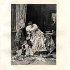 Don't Move Portrait Femme Enfant Chien Louis Leloir Eau forte Dunod 19e L'art