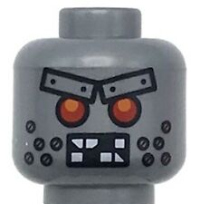 Lego New Flat Silver Minifigure Head Alien with Red Eyes Metal Eyebrows