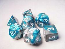 Chessex Polyhedral 7-Die Gemini Dice Set  Steel Teal with White CHX 26456