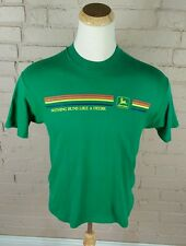 Rare Vtg K Products 80s John Deere Tractor Rainbow Stripe Trucker T Shirt M