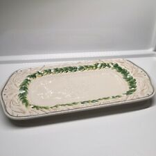 "Fitz & Floyd Winter Garden Platter 13""x7"" Holiday Mistletoe Serving Tray"