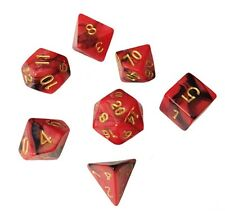 Red and Black Marbled Swirl- Set of 7 Polyhedral Dice (7 Die in Pack)- RPG