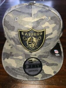 Las vegas raiders CAMO 9Fifty Snapback Hat cap salute service armed forces NWT