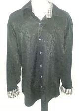 BERTIGO Mens Long Sleeve Button Front Shirt Sz XL Black Cotton