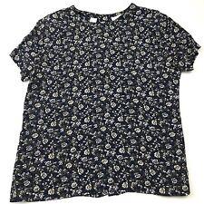 Liz Claiborne Size 6 Petite Top Womens Blue Floral Button Back Multi-Color Rayon