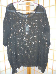 NEW ❤EILEEN FISHER❤ BLACK SILK TOP & SCATTERED COPPER SEQUINS US PLUS SZ1X 18-20
