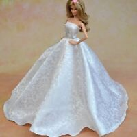 Barbie Dolls Clothes Fashion Pure White Wedding Dress Gown Hat X-mas Girls Gift