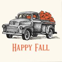 NEW Blue Ink Studios Happy Fall Pumpkins Truck Cocktail Beverage Napkins 36 Ct