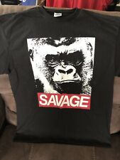 Savage Gorilla T Shirt Size Large Black 100% Cotton VGC