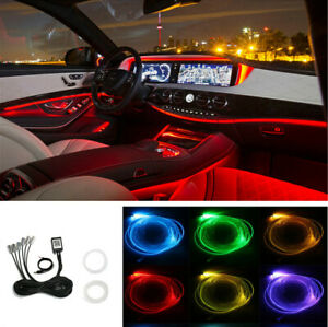 Bluetooth APP Control 6 IN 1 Car Interior Trim RGB LED Atmosphere Light Strip