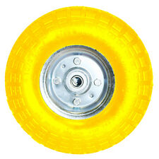 """10"""" YELLOW SACK TRUCK TROLLEY SOLID RUBBER REPLACEMENT WHEEL TYRE STEEL RIM HAND"""