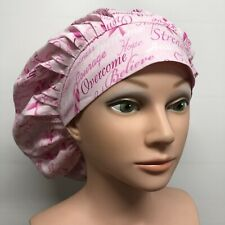 Scrub Hat, Pleated Bouffant, WIDE BAND, Breast Cancer Awareness, 100% Cotton