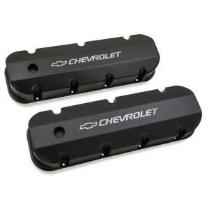 Holley Valve Cover Set 241-281; Fabricated Black Anodized Aluminum for Chevy BBC