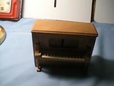 Golden Brown Wooden Piano Music Box with Bench Plays The Entertainer