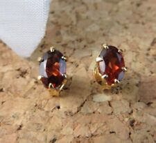 1.50ctw Genuine Red Garnet Oval Stud 22k Gold over Sterling Silver Earrings #473