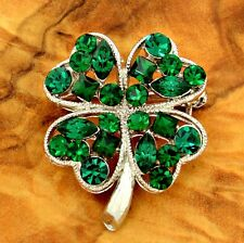 W Swarovski Crystal Clover Shamrock Lucky Leaf Green Brooch Pin Jewelry