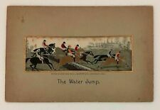 Antique Victorian   Silk Stevengraph The Water Jump English Fox Hunting Scene