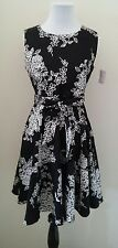 Modcloth Girl Meets Twirl Dress in Noir Blossom S  Ixia Black/ Wht A-line Floral