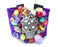 Sugar Skull Gemstone Bracelet Fabric & Sterling Day of the Dead Mexican Fiesta