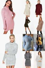 Women's Ladies Chunky Cable Knitted POLO NECK Bodycon TUNIC Dress Jumper UK 8-22