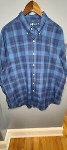 Ralph Lauren Men's Classic Fit Long Sleeve Button Front Shirt XL Blue Check EUC