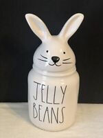 """Rae Dunn Easter """"JELLY BEANS"""" Canister Jar with Bunny Head Topper NEW 9.25"""" tall"""