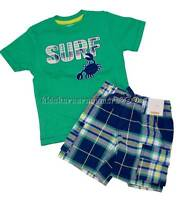 Gymboree Tide Pool 2T 3T 4T 5T Crab Surf Tee Shirt Blue Plaid Shorts Set 2016